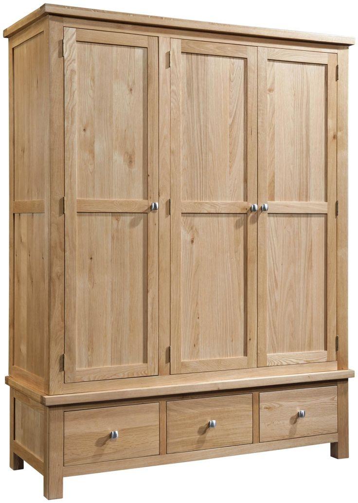 Abbey Oak Triple Wardrobe with 3 Drawers