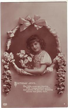 E A Schwerdtfeger Postcard - Birthday Joys  c1911
