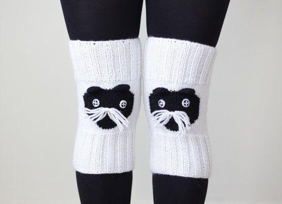 SUMMER SALE - Cat Knit Knee socks, Knee warmers, Animal accessories, Animal Leg Warmers, Cat Knee Sock, Knit leggings, Black and white
