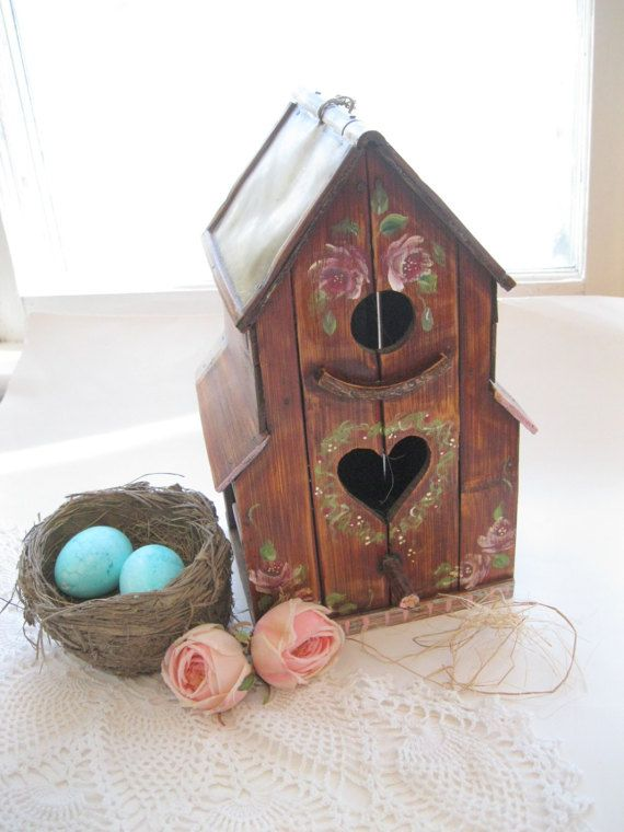 REDUCED  Painted Bird House  Painted Birdhouse  Decorative