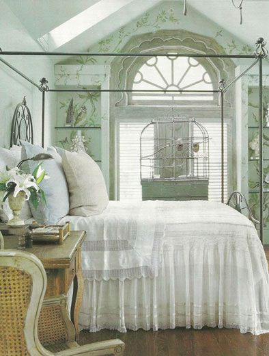 Pale Aqua And White Bedroom With French Country Feel (AD)