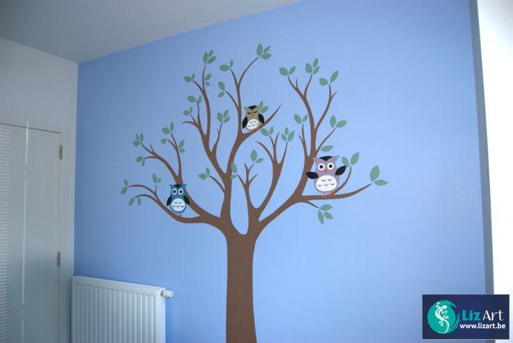 Muurschildering boom met uiltjes on Lizart  http://lizart.be/social-gallery/muurschildering-boom-met-uiltjes