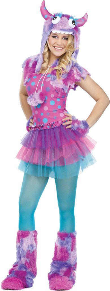 fun world costumes womens polka dot monster teen costume pinkblue one size girls multi - Fun Teenage Halloween Costumes