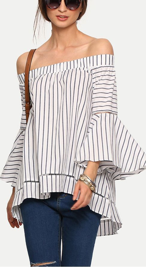 "Multicolor Striped Off The Shoulder Bell Sleeve Blouse  40% Off your first order. More surprises at <a href=""http://www.shein.com"" rel=""nofollow"" target=""_blank"">www.shein.com</a>!!"