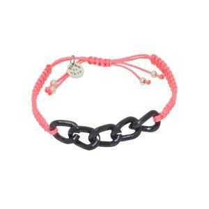 Chain-colored macrame bracelet (black chain / salmon) by Dora By Ebru // Zincirli renkli makrame bileklik (siyah zincir/fuşya) - Dora By Ebru