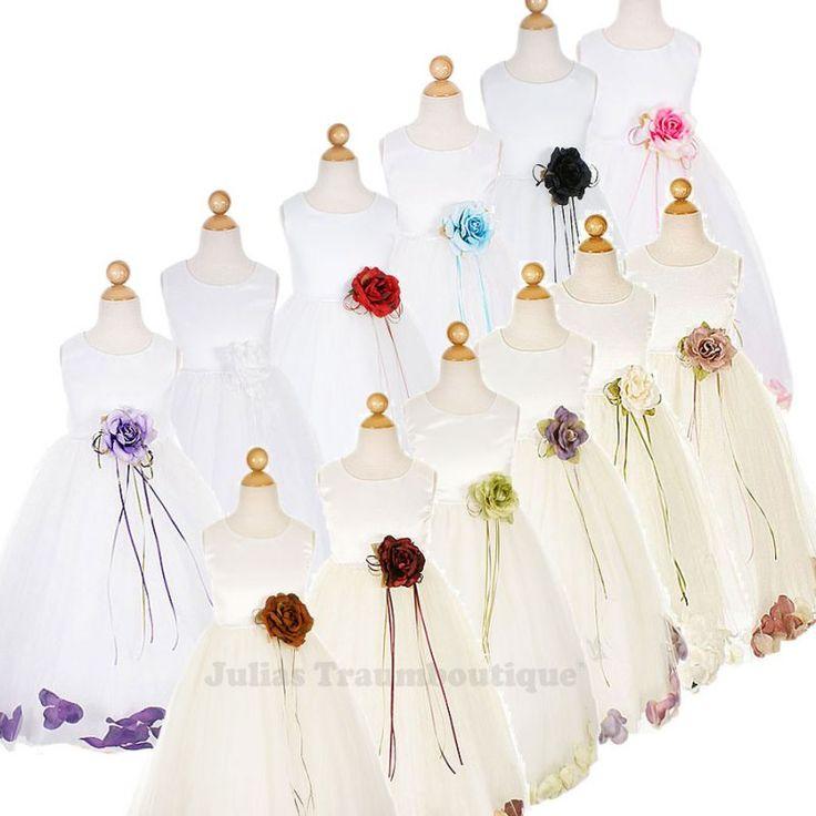 Brautmädchenkleid Lindsey Größe 68 bis 152 in weiß oder creme, Blüten in vielen Farben
