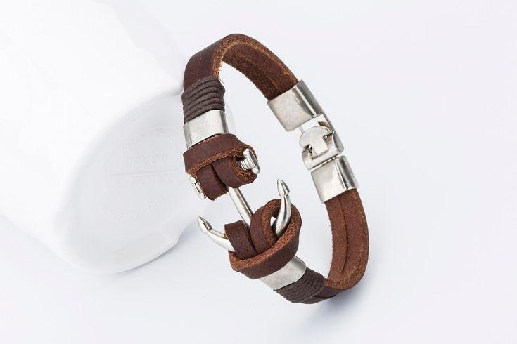 2016 új divat Anchor Charm Férfi karkötő Trendy Bangle Kézzel készített bőr karkötő akasztó Bőr karkötő! -in Chain & link karkötőt Ékszerek és kiegészítők a Aliexpress.com | Alibaba Group