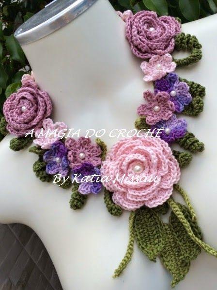 A MAGIA DO CROCHÊ - Katia Missau: Colar com Flores de Crochê - Colar Artemys