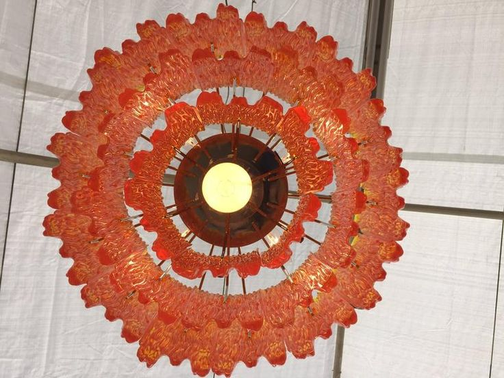 Orange Acrylic Icicle Chandelier in the Manner of Kalmar 6