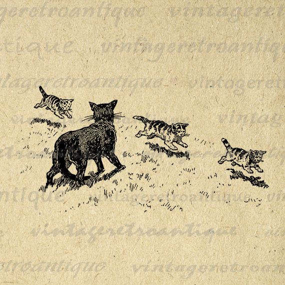 Printable Graphic Cat and Kittens Image Cute Animal Digital
