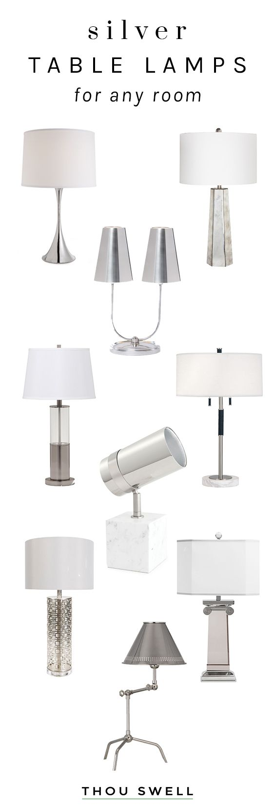 Stylish silver table lamps for any room in the house on Thou Swell @thouswellblog