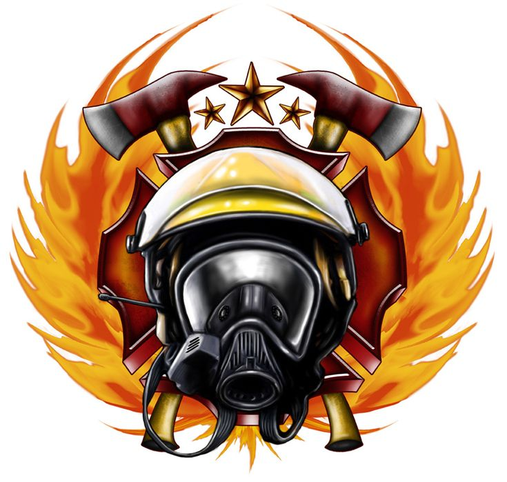 Firefighter emblem illustration