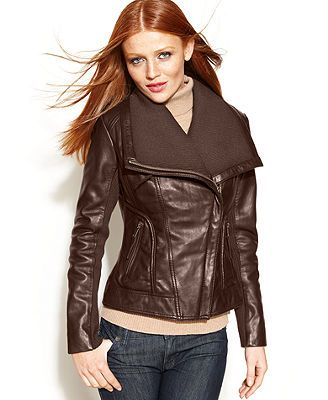 MICHAEL Michael Kors Coat, Leather Knit-Trim Motorcycle Jacket