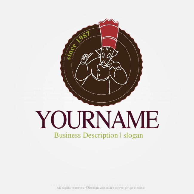 Create a Chef Label Logo Template with our Free Logo Creator Design your own logo online with this ready made Chef Label logo template. Use the Online Logo Creator to design your company name text, colors, fonts. This beautiful Chef Label Logo Template suitable for branding a Bakery Brand or Cafe Logo. Creative Logos of this type will be outstanding as a Restaurant Logo or Food Supply Logo. Because this logo is
