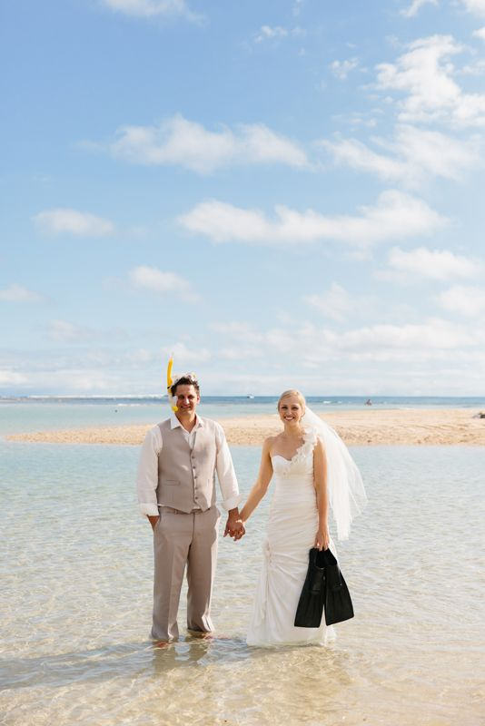 Fiji wedding day after, fun on the beach with snorkel and flippers. Image: Cavanagh Photography http://cavanaghphotography.com.au