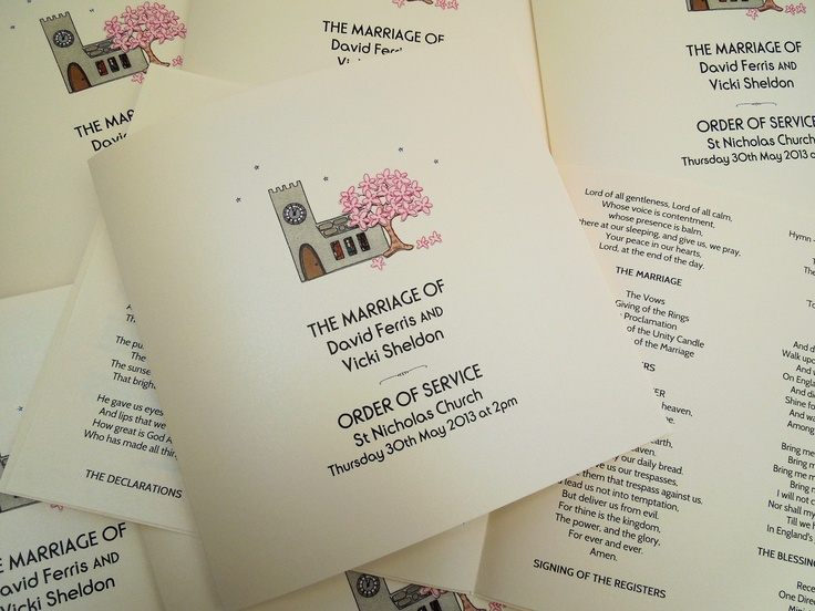 All things bright and beautiful - cute 'Order of Service' Booklets for Spring Weddings taking place at a Church featuring the order of service, hymns and readings