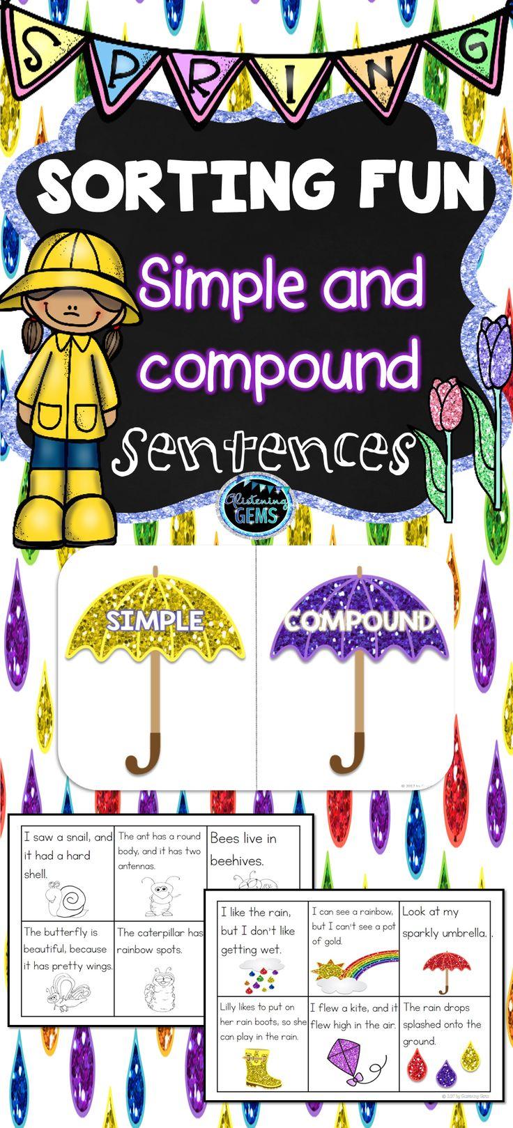 Spring- Simple and Compound Sentences Sort - K-2