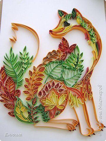 Картина панно рисунок Квиллинг Сказочный лис Бумажные полосы Картон фото 1