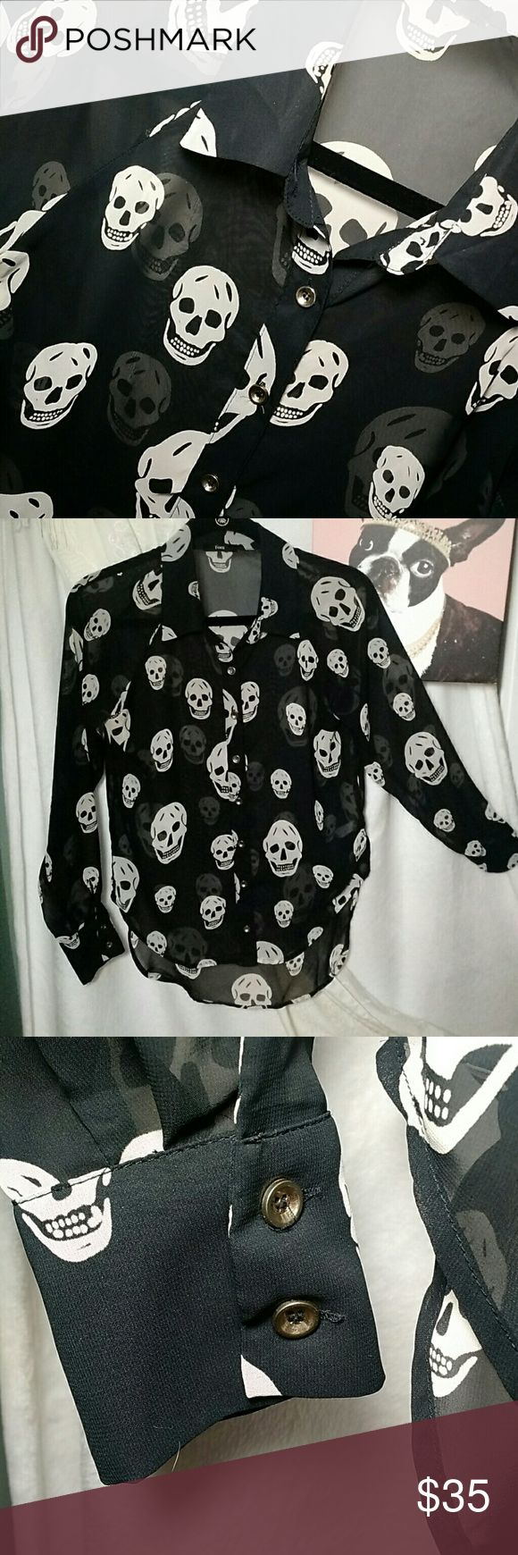 EUC!  Fora Skull Print Blouse Long sleeved button down collared blouse.  Sheer!  Skull prints front, back, and sleeves.  Buttons on sleeve cuffs.  High/low hemline.  100% polyester. Hand wash cold.  Hang or lay flat to dry.  And, yes, I had a Harley.  I rode ALONE (did not ride, well, you know...). Gonna get it back once my sons are out of college! FORA Tops Blouses