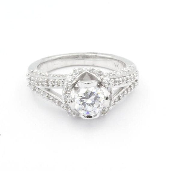 0.75 ct Round Cut CZ Engagement Ring, Size 6.5, 925 Sterling Silver (775)