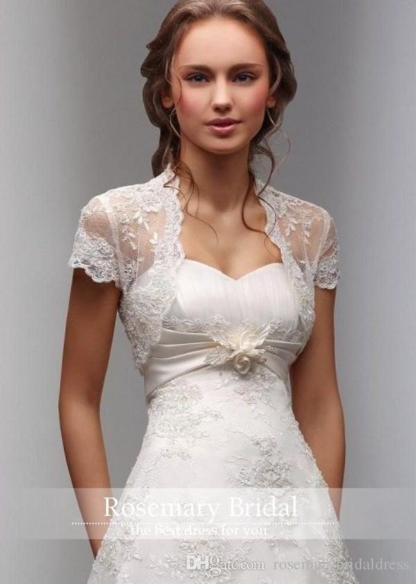 Fresh Elegant White Lace Wedding Bolero Short Sleeves Bride Jackets Soft Custom Made Bridal Wraps Fast Shipping