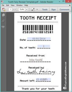 Printable tooth fairy receipt (can be edited with child's details).