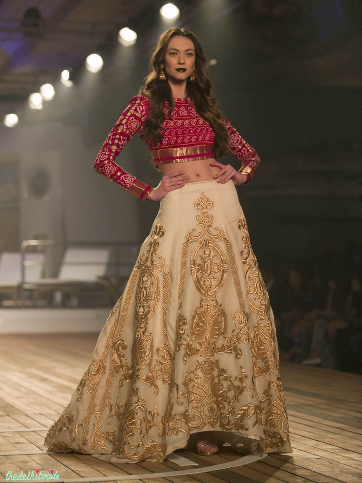 Gold Embroidered 3D Applique Beige Lehenga with Jamnagar Silk Red Blouse - Monisha Jaising - Amazon India Couture Week 2015