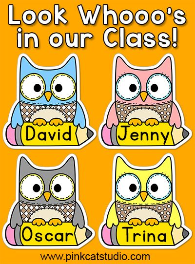 These fun owl name tags and labels will look fantastic in your classroom! Make any labels that you want with the included blank labels and editable PowerPoint file. These would make great bin or basket labels, job cards, flash cards and name tags. By Pink Cat Studio