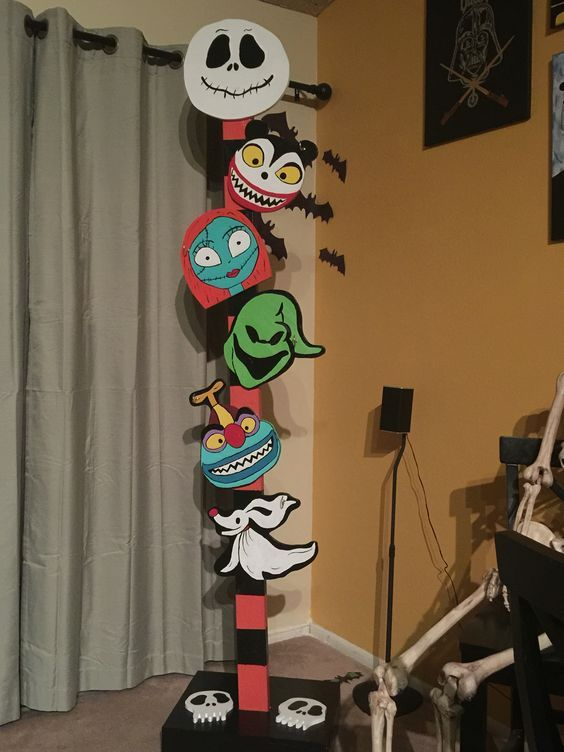 Nightmare before Christmas themed stocking holder i made for Halloween/Christmas (picture only)