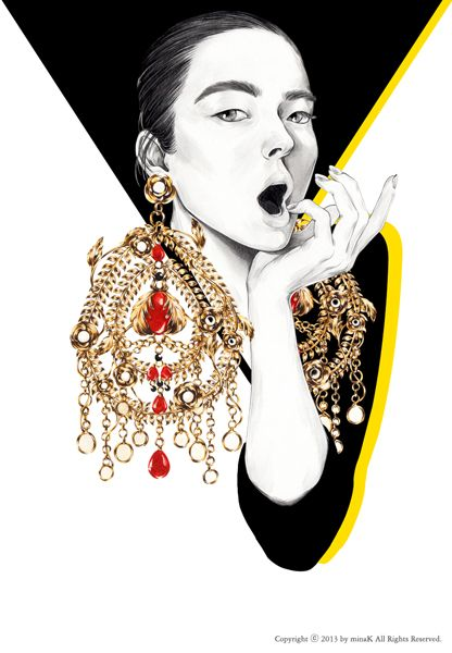 GOLD Crush mina k _ fashion illustration minak.kr