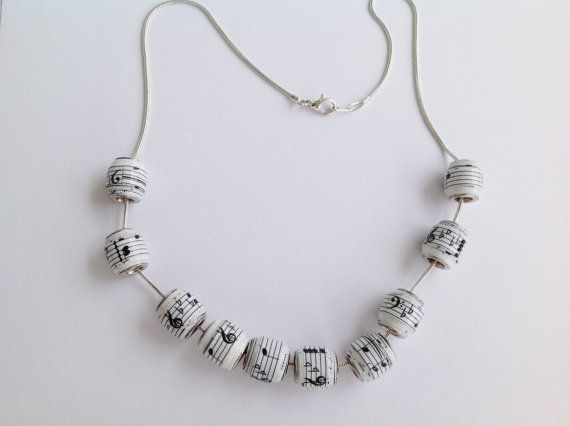 Music Notes paper bead necklace or bracelet by MagdaCrafts on Etsy