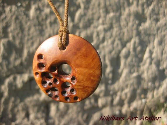 Hand caved wood necklace  modernist necklace by NikibarsNatureArt