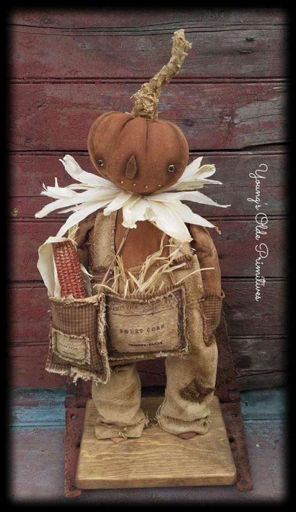 ~Primitive Standing Pumpkin Doll~Fall~Halloween~JOL #NaivePrimitive