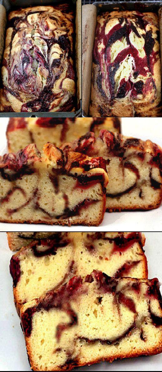 Double Berry Swirl Greek Yogurt Cake
