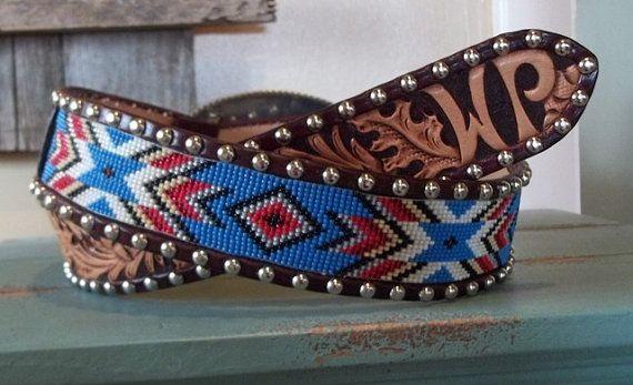 Handmade Beaded Belt inset into leather by Deesbeadeddogcollars