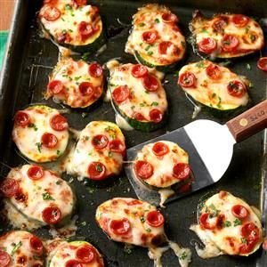 Mini Zucchini Pizzas Recipe -This simple snack recipe is the perfect, low-carb way to satisfy your pizza cravings. —Taste of Home Test Kitchen