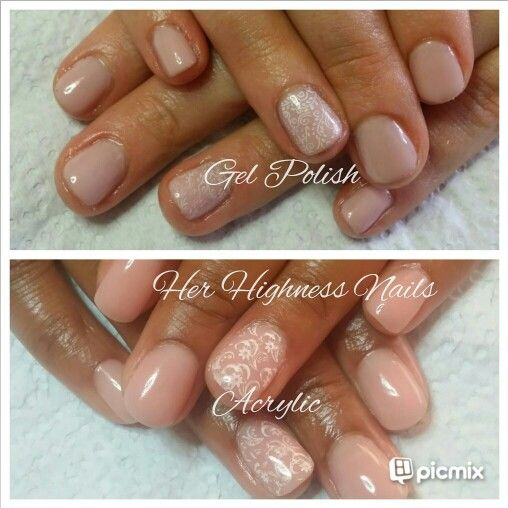 Gel vs Acrylic Nude look #yn #naturalnails #coverpink white stamping @herhighnessnails