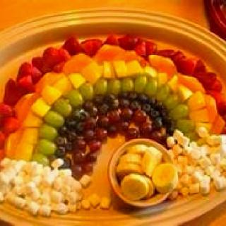 Rainbow Fruit Platter - hellow kitty tea party