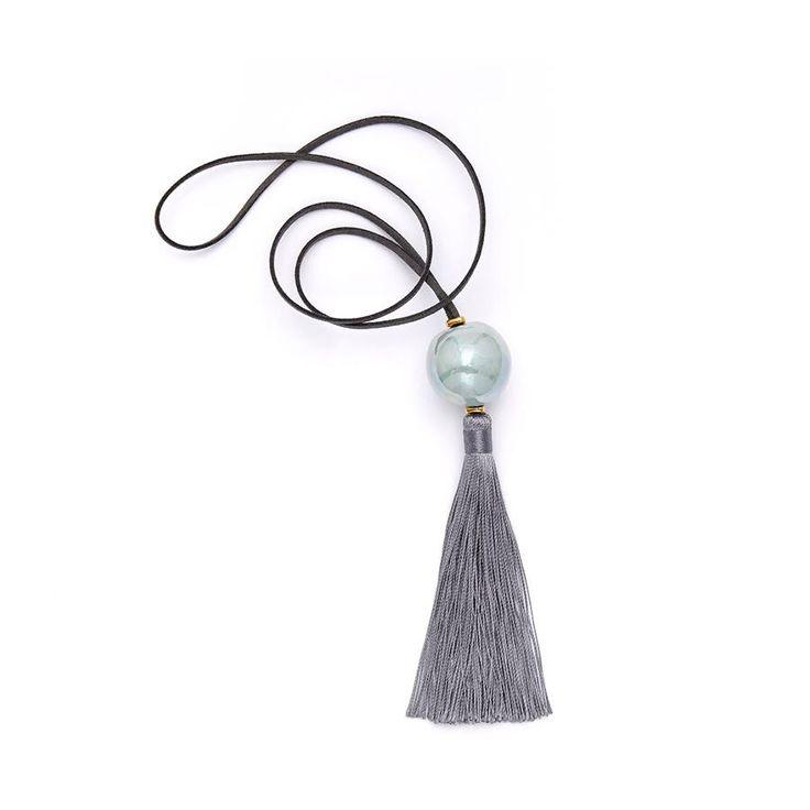 Light Blue Ceramic Ball/Grey Fringe Pendant