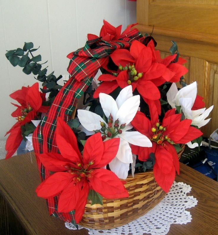 Poinsettias in a basket