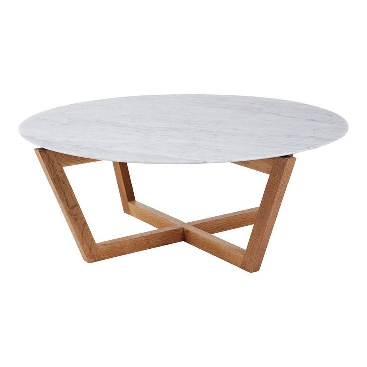 """This modern designer Marcello round marble top coffee and accenttable is a combination of honed natural white Italian Carrara marble on a solid American white oak wooden frame.A must have for any stylish living room setting.  """"The Marcello"""" range is from Urban Couture, which is characterised by clean geometric shapes and modern materials that link with"""
