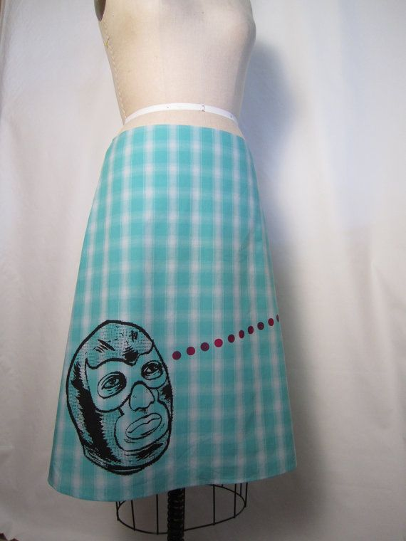Lucha Libre Turquoise Plaid Skirt by AngiesSweatshop on Etsy, $49.00