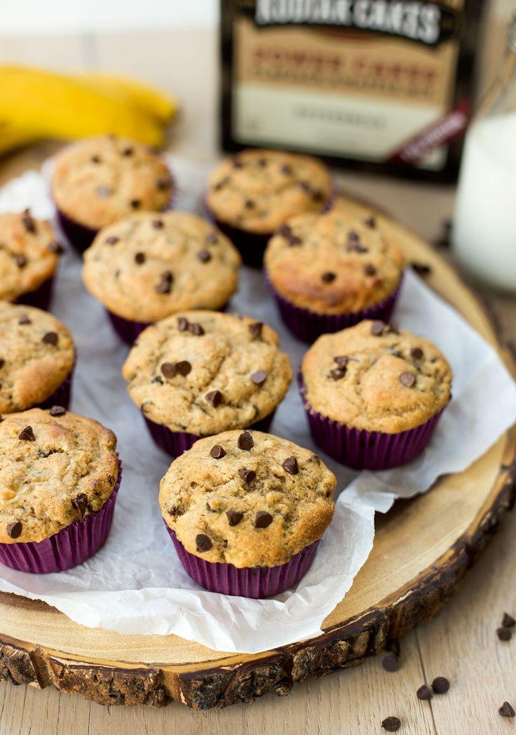 Banana chocolate chip power muffins kodiak cakes