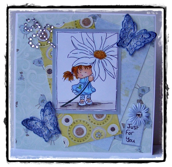 Lili of the Valley stamp, first edition paper, Little Snippets butterflies.
