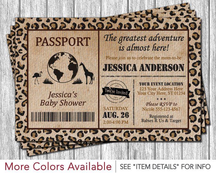 Safari Passport Baby Shower Invitation by PuggyPrints on Etsy