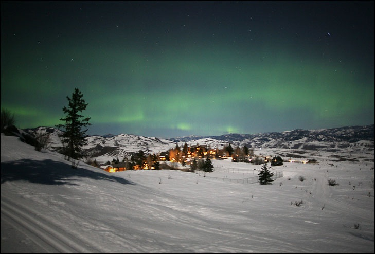 This is a photo of the northern lights as seen from the ski trail above Sun Mountain in Winthrop, WA