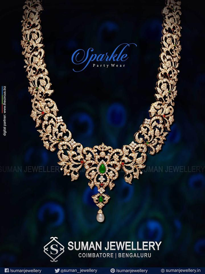 Sparkle the evening with this elegant & stunning haar! #suman_jewellery #sparkle #party_wear
