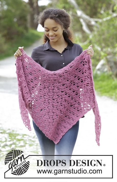 Shawl with fan pattern, worked from tip and up. Piece is crocheted in DROPS Air. Free pattern by DROPS Design.