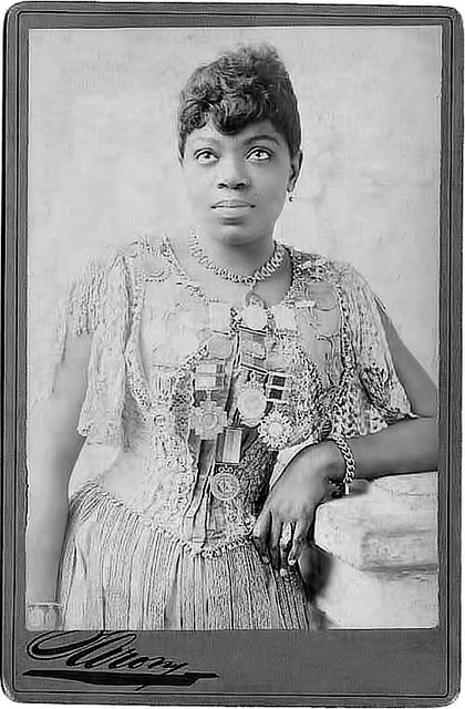 "Matilda Sissieretta Joyner Jones (1868-1933) African-American soprano sometimes called ""The Black Patti"" in reference to Italian opera singer Adelina Patti. Jones' repertoire included grand opera, light opera, and popular music.  In June 1892, Jones became the first African-American to sing at the Music Hall in New York (Now known as Carnegie Hall.) Photo taken 1889."