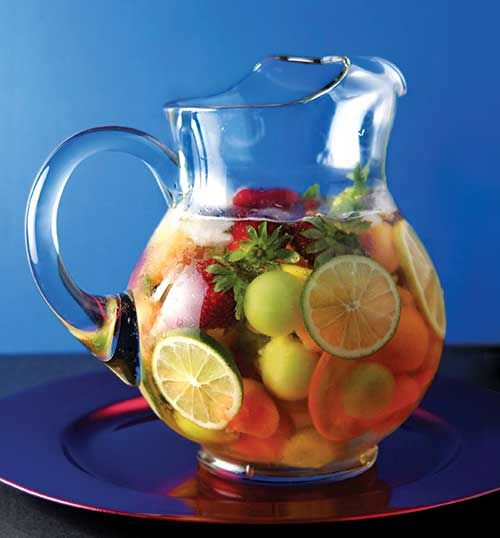 """Sangria!  Making """"sangria"""" with fruit punch for the shower."""